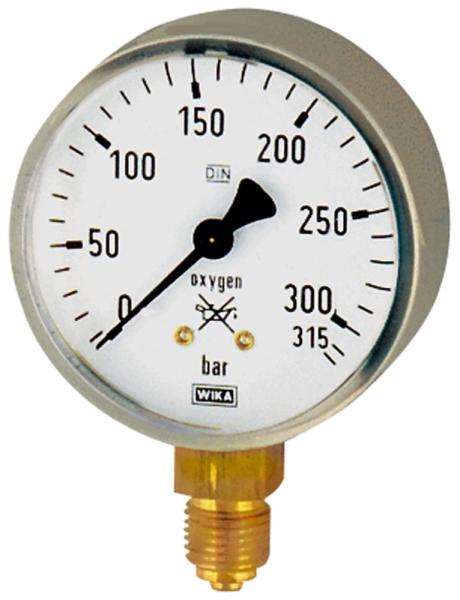 Schweißtechnikmano, Stahl, oxygen, G 1/4 unten, 0 - 315 bar, Ø 63