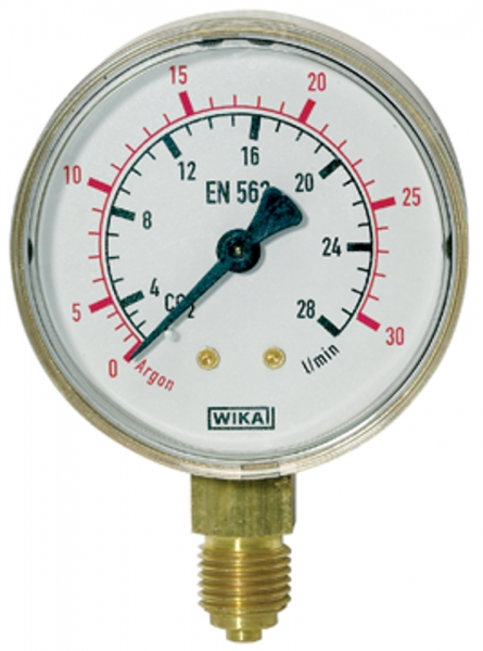 Manometer Argon, G 1/4 radial unten, 0 - 30 l/min (10 bar), Ø 63