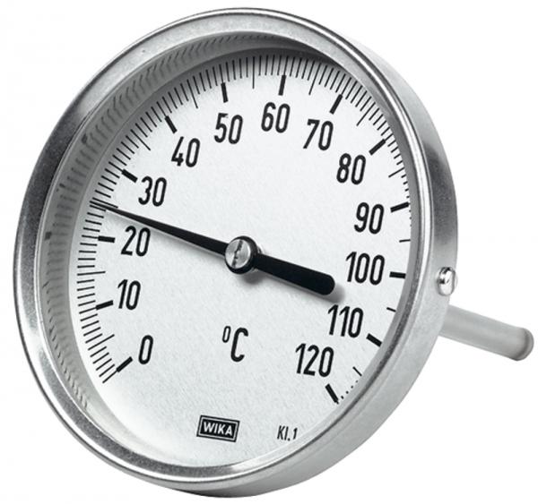 Bimetallthermom., hochw. Ausf., L1=63/L2=43, Ø 100, 0°C bis 160°C