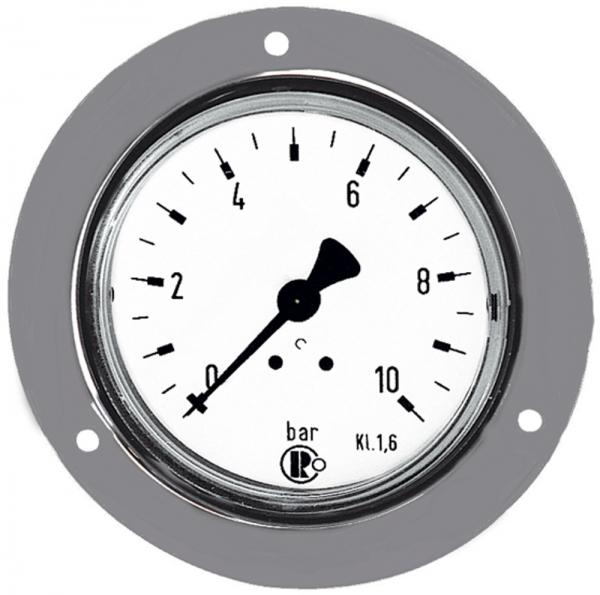 Standardmano., Frontring verchr., G 1/4 hinten, 0-40,0 bar, Ø 63