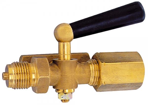 Manometer-Absperrhahn, Zapfen - Spannmuffe, Messing blank, G 1/2