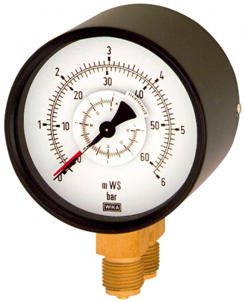 Differenzdruckmano., 2x G 1/2 unten, parallel, 0 - 6,0 bar, Ø 100
