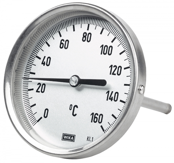 Bimetallthermometer, G 1/2 hinten, L=63, Ø 100, 0 °C bis 200 °C