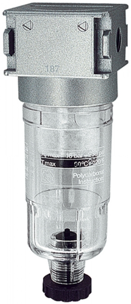 Vorfilter »multifix-mini«, mit PC-Behälter, 0,3 µm, BG 0, G 1/8