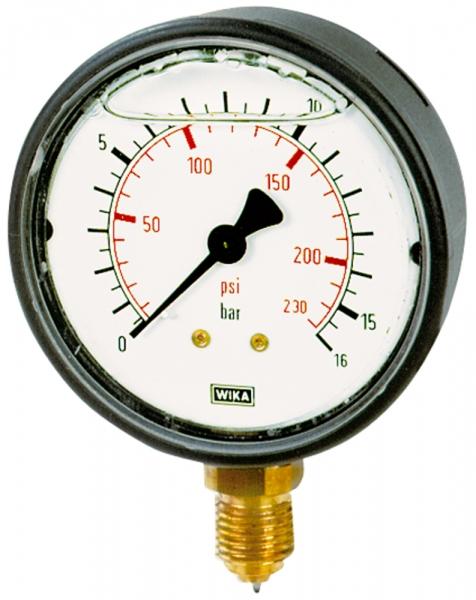 Glyzerinmanometer, Kunststoff, G 1/4 unten, 0 - 1,6 bar, Ø 63