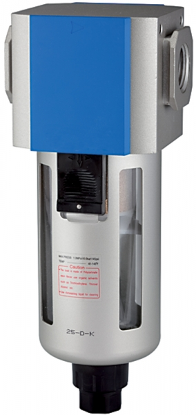 Filter »G«, PC-Beh., Schutzkorb, 5 µm, BG 400, G 1/2, Ablass: VA