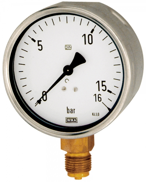 Manometer, Robustausführung, G 1/2 unten, -1 / 0,0 bar, Ø 100