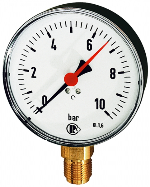Standardmanometer, Stahlblech, G 1/2 unten, -1 / +9,0 bar, Ø 160
