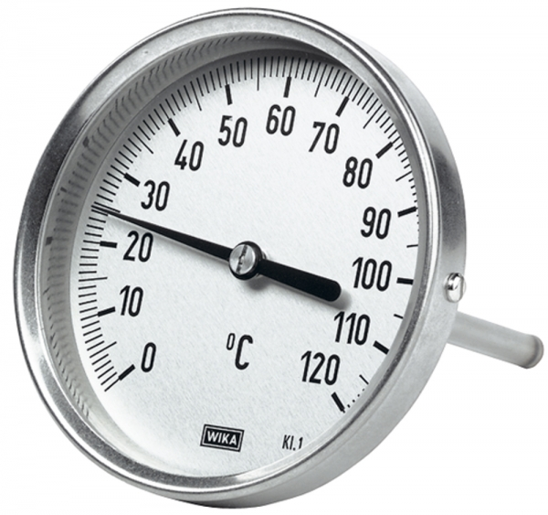 Bimetallthermom., hochw. Ausf., L1=160/L2=140 Ø100, 0°C bis 250°C