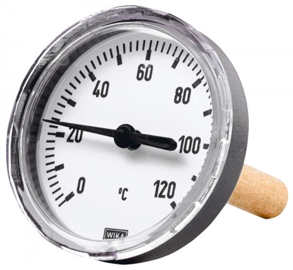 Bimetallthermom., G 1/2 hi., Tauchschaftlänge 100mm Ø80, bis 60°C