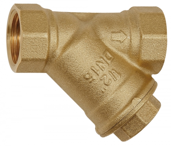 Schmutzfänger, Messing blank, G 1 1/2, DN 40, MW 0,5 mm