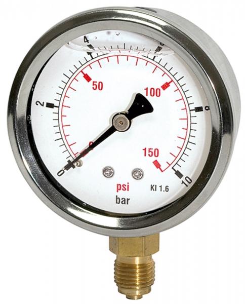 Glyzerinmano »pressure line«, G 1/2 u., 0-10,0 bar/145 psi, Ø100