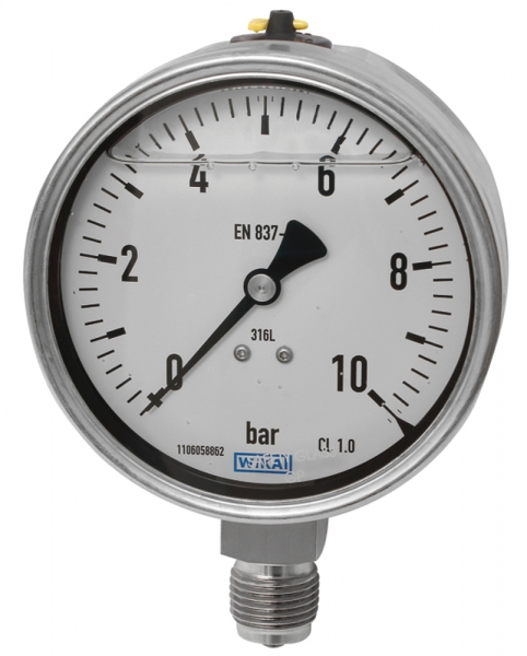 Glyzerinmanometer, CrNi-Stahl, G 1/4 unten, -1 / +0,6 bar, Ø 63