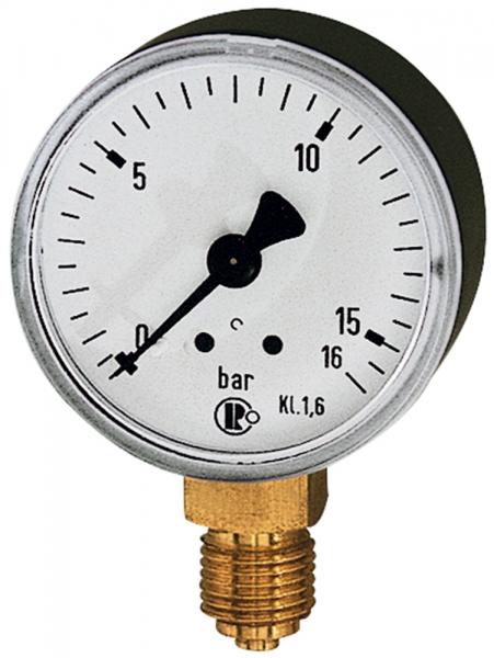 Standardmanometer, Stahlblechgeh., G 1/4 unten, 0-16,0 bar, Ø 50