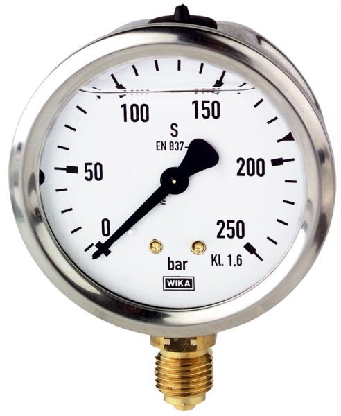 Glyzerinmanometer, CrNi-Stahl, G 1/4 unten, 0 - 1,6 bar, Ø 63