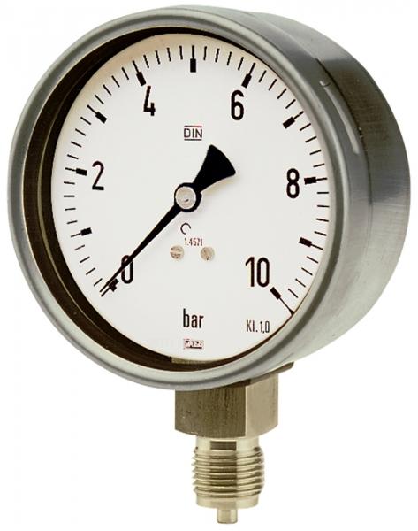 Manometer, CrNi-Stahl, G 1/2 radial unten, 0 - 10,0 bar, Ø 100