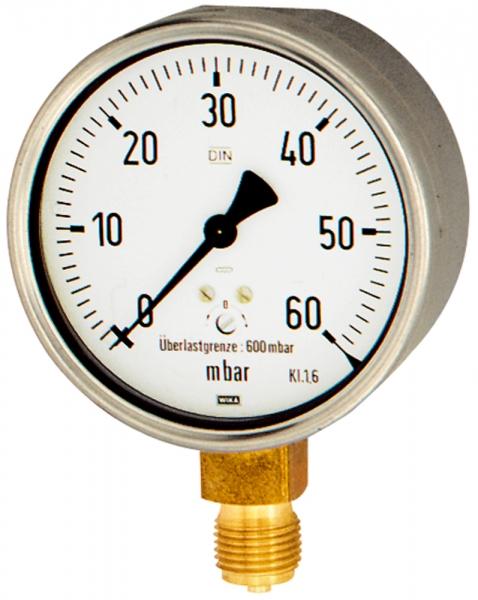 Kapselfedermanometer, CrNi-Stahl, G 1/2 unten, 0 - 60 mbar, Ø 100