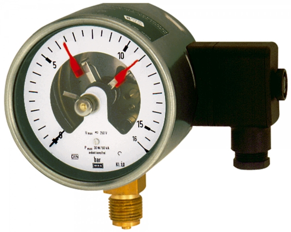 Kontaktmanometer, G 1/2 radial unten, Messber. 0-16,0 bar, Ø 100
