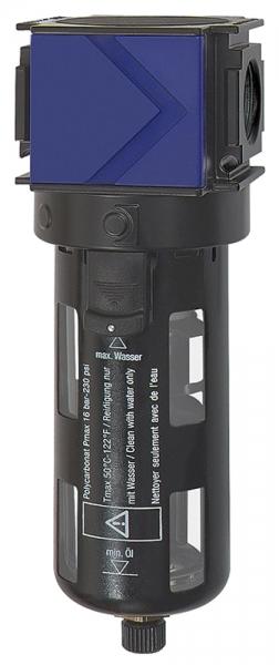 Filter »variobloc«, Polycarbonatbehälter, Schutzkorb, BG 1, G 1/4