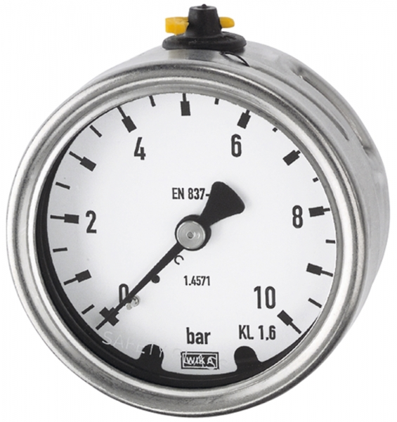Manometer, CrNi-Stahl, G 1/2 hinten exzentr., 0 - 25,0 bar, Ø 100