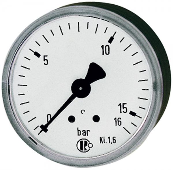 Standardmanometer, Stahlblechgeh., G 1/4 hinten, 0-10,0 bar, Ø 63