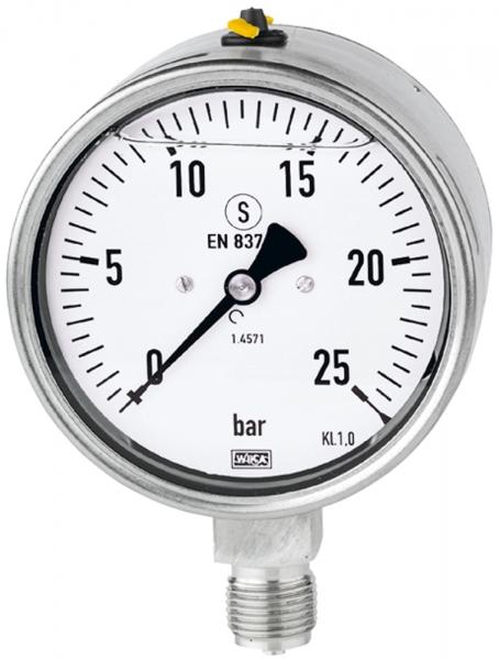 Glyzerinmano, CrNi-Stahl, Sicherh., G 1/2 unten, 0-25,0 bar, Ø100