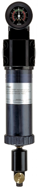 Mikrofilter mit Differenzdruckmanometer, 0,01 µm, G 1/2
