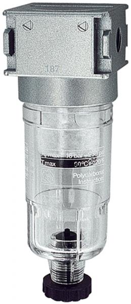 Vorfilter »multifix-mini«, mit PC-Behälter, 0,3 µm, BG 0, G 1/4