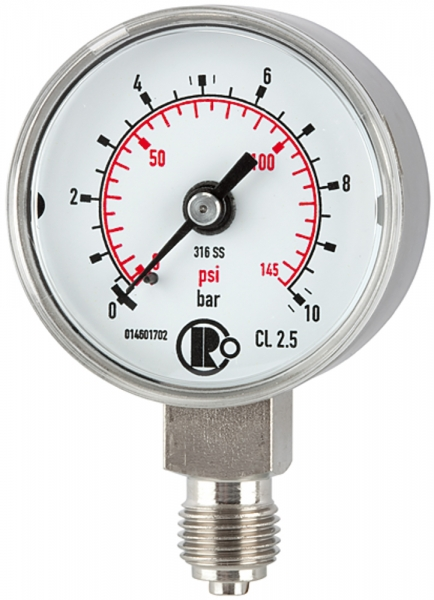 Standardmanometer, CrNi-Stahl, G 1/4 unten, 0 - 1,6 bar, Ø 40