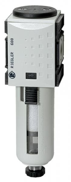 Vorfilter »FUTURA«, PC-Beh., Schutzkorb, 0,3 µm, BG 1, G 3/8, VA