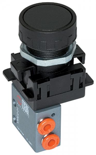 3/2-Miniventil, manuell, Druckknopf, NC, monostabil,4mm seitl.rot