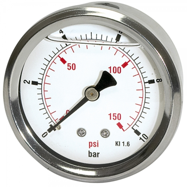 Glyzerinmano »pressure line« G 1/4 hinten 0-160 bar/2300 psi, Ø63