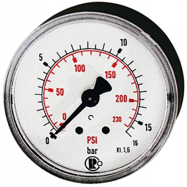 Standardmano, Kunststoff, G 1/8 hinten, 0 - 6,0 bar/86 psi, Ø 40