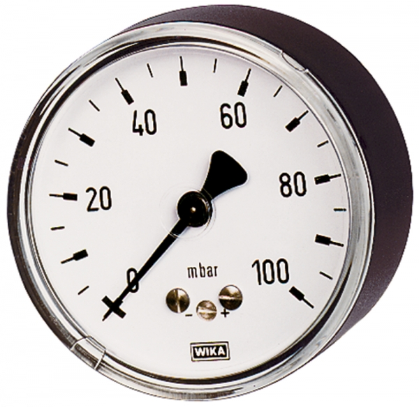 Kapselfedermanometer, G 1/4 hinten zentrisch, 0 - 100 mbar, Ø 63