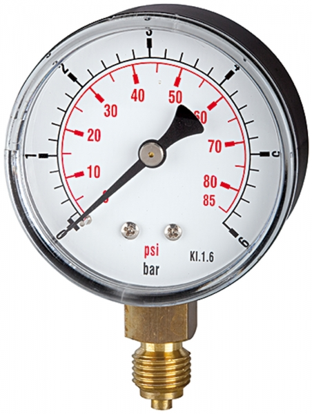 Standardmano »pressure line«, G 1/4 unten, 0-1,6 bar/23 psi, Ø 63