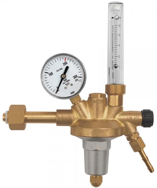 Flaschendruckregler, 200 bar, Argon, Mengenmesser 0 - 20 l/min