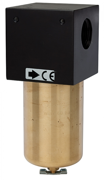 Mikrofilter für hohe Drücke bis 60 bar, Handablassventil, G 1