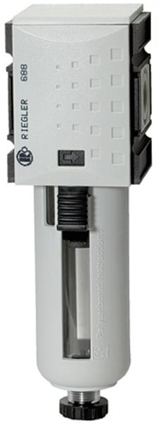 Filter »FUTURA« mit PC-Behälter, Schutzkorb, 5 µm, BG1, G 1/4, VA