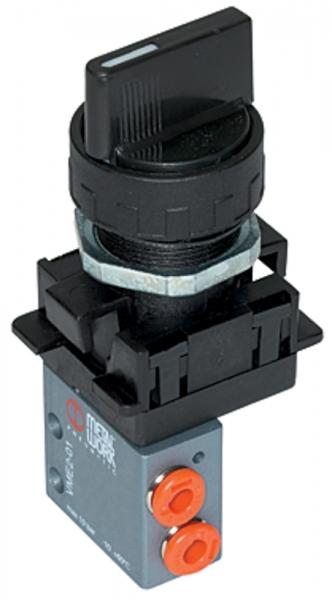 3/2-Miniventil, manuell, Drehknopf, NC, monostabil, 4 mm seitlich