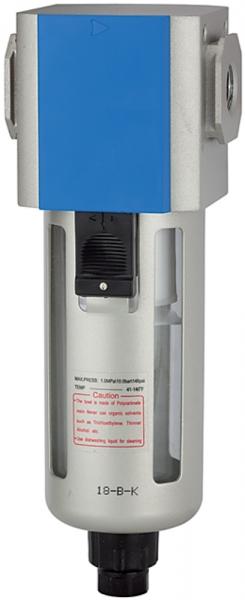 Filter »G«, PC-Beh., Schutzkorb, 5 µm, BG 300, G 3/8, Ablass: VA