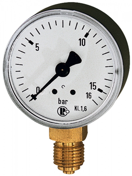 Standardmanometer, Stahlblechgeh., G 1/4 unten, -1/+5,0 bar, Ø 63