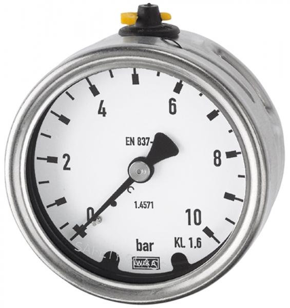 Manometer, CrNi-Stahl, G 1/2 hinten exzentr., 0 - 10,0 bar, Ø 100