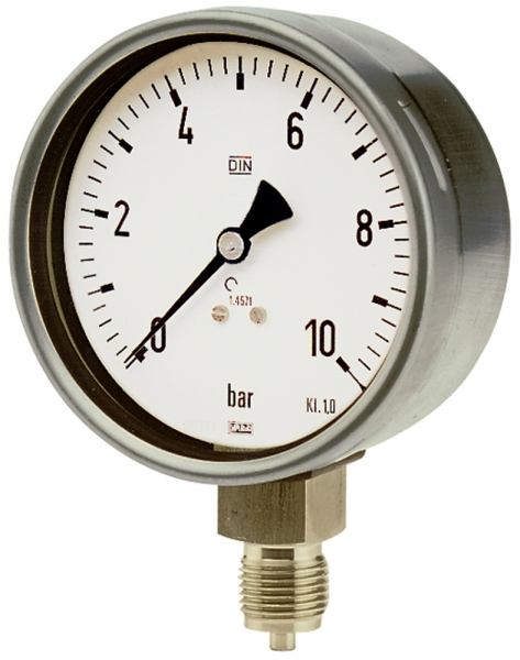 Manometer, CrNi-Stahl, G 1/2 radial unten, 0 - 6,0 bar, Ø 100