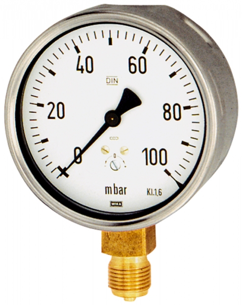 Kapselfedermanometer, G 1/2 radial unten, -60 / 0 mbar, Ø 100
