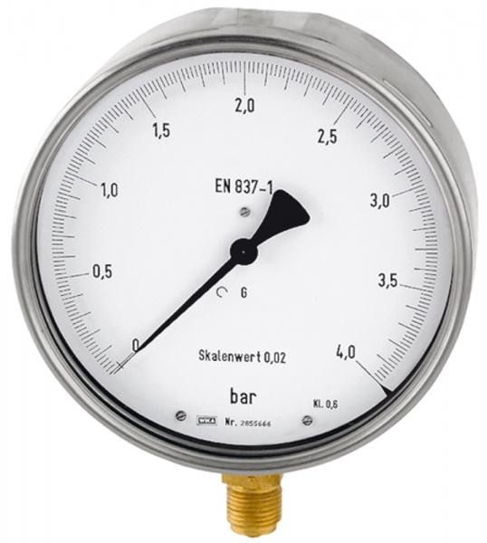 Feinmessmanometer, G 1/2 radial unten, -1 / 0,0 bar, Ø 160