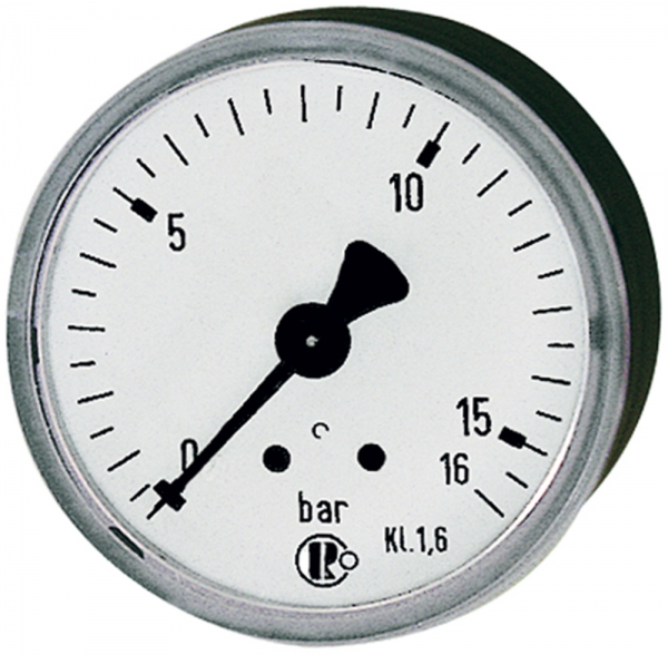 Standardmanometer, Stahlblechgeh., G 1/8 hinten, -1/0,0 bar, Ø 40