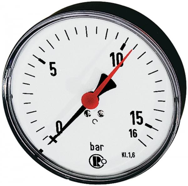 Standardmano., Stahlblech, G 1/4 hinten zentr., 0-16,0 bar, Ø 100