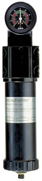 Aktivkohlefilter mit Differenzdruckmano., 0,005 mg/m³, G 1 1/4