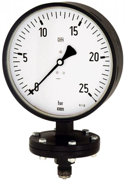 Plattenfedermano, Robust., G 1/2 radial unten, 0 - 1,6 bar, Ø 100