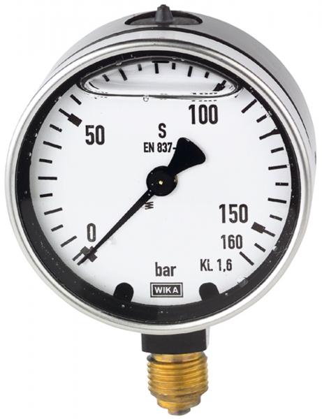Glyzerinmanometer, Metallgehäuse, G 1/2 unten, 0-160,0 bar, Ø 100